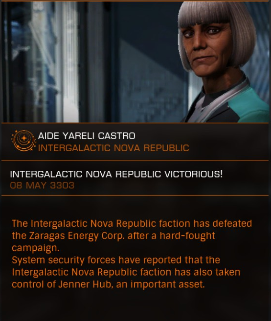 Nova Force takes control of Zaragas for the Intergalactic Nova Republic